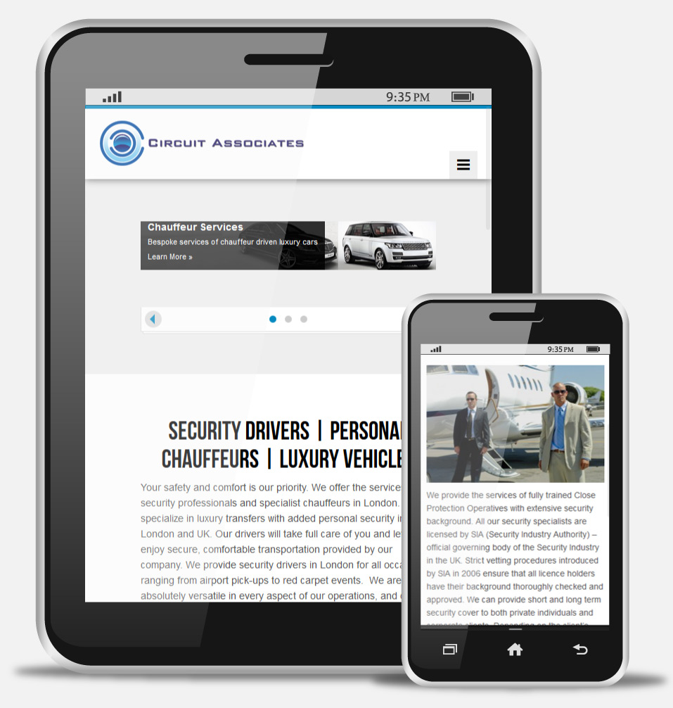 Security Chauffeur responsive website design