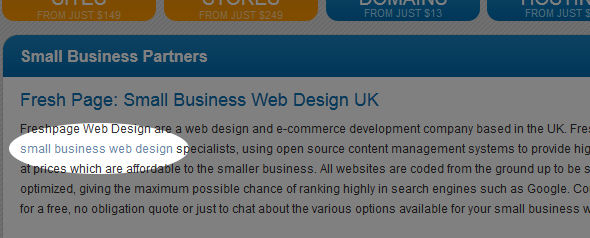 backlink for small business web design