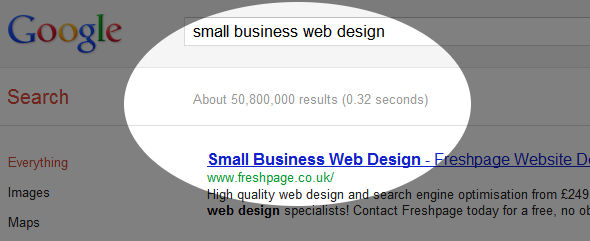 google search for small business web design