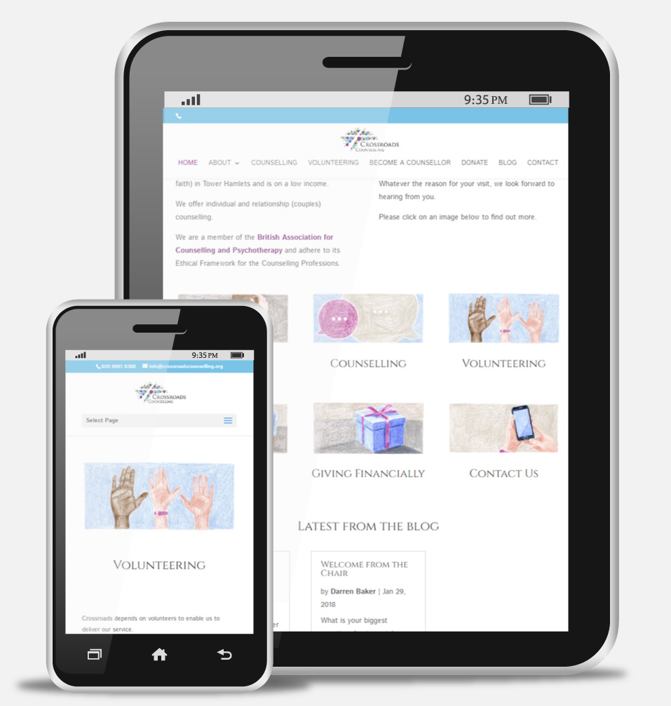Counselling Mobile Website Design - Crossroads Counselling