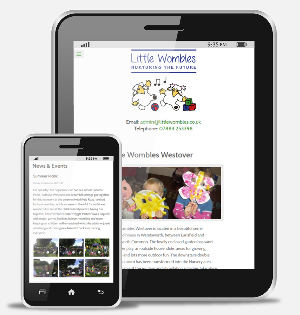 Children's Nursery Mobile Website Design
