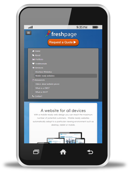 freshpage-on-phone-menu