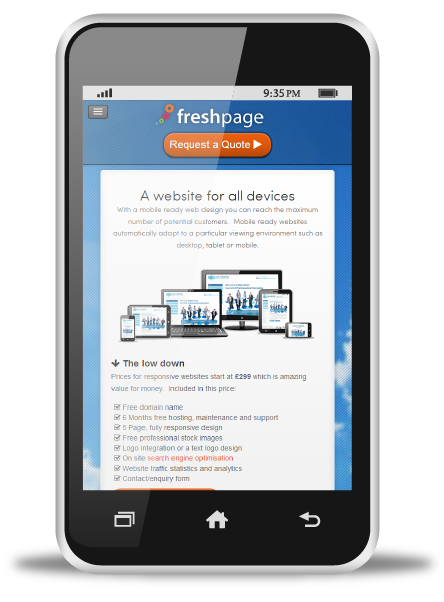 Mobile website on smart phone