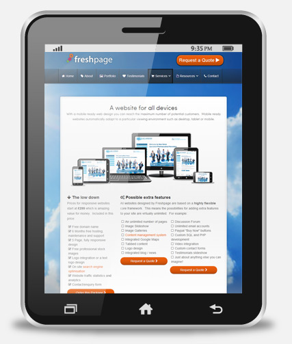 Responsive web design on tablet PC