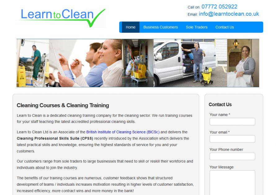 Cleaning Company Web Design - Learn to Clean