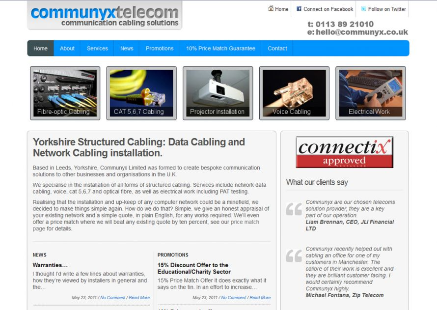 Network Cabling Website - CommunyX Telecom